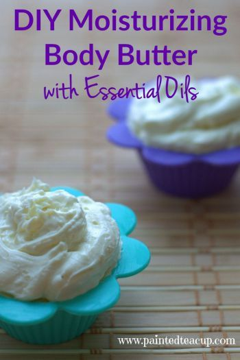 Homemade moisturizing body butter made with essential oils! Your skin is sure to love this! Perfect DIY gift for Mother's day!