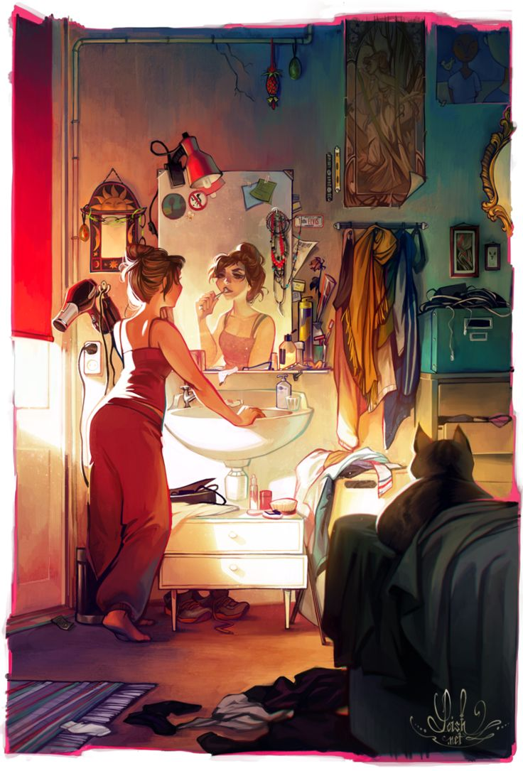 never know what some girls do in there room so this looks like good inspiration if writing a contemporary Morning by loish on deviantART