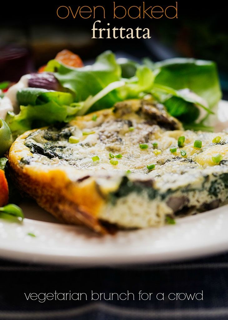 Easy vegetarian oven baked frittata with mushrooms and swiss chard and ...