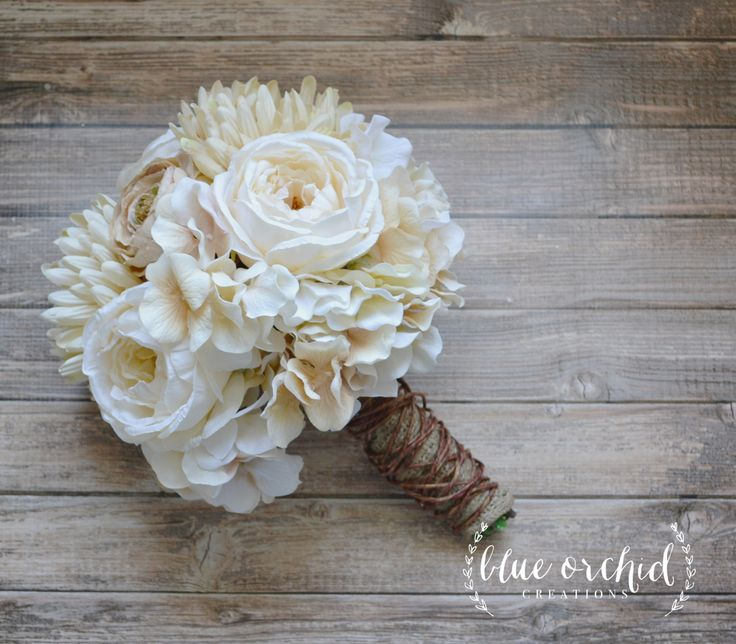Rustic Wedding Bouquet Wrapped in Grapevine and Burlap by blueorchidcreations on Etsy
