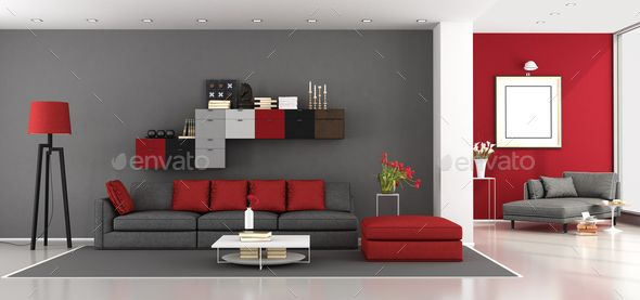 Red And Gray Modern Living Room Red Sofa Living Room Red Living Room Decor Living Room Red
