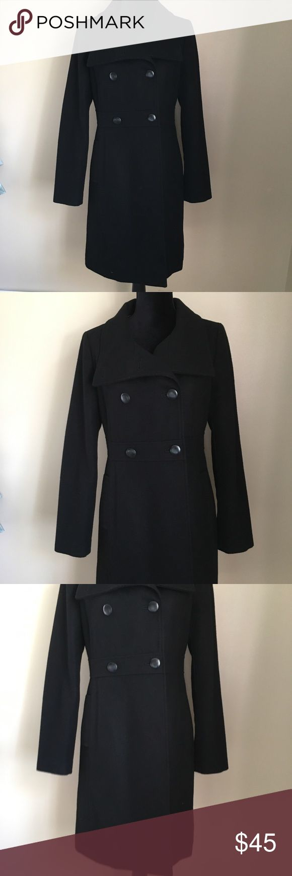 "Medium Old Navy Black Pea Coat Feminine with a fitted to the waist look and a small flare out.  Excellent condition, only worn a few times. 37"" Long, 19"" armpit to armpit, 17"" across the waist flat. Old Navy Jackets & Coats Pea Coats"
