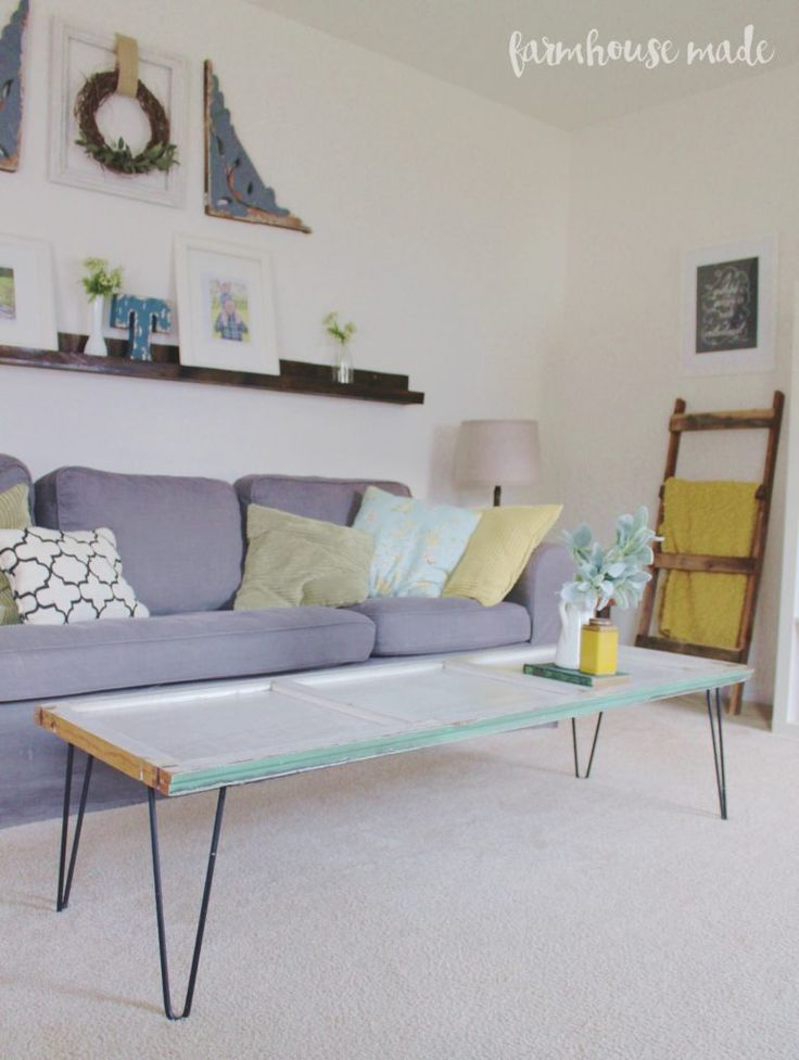 DIY Coffee Table Using a Salvaged Shutter
