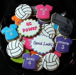 Volleyball CookiesCookies Ideas, Sports Parties, Kc Power, Birthday Parties, Volleyball Team, Power Volleyball, Volleybal Cookies, Volleyball Cookies, Sports Cookies