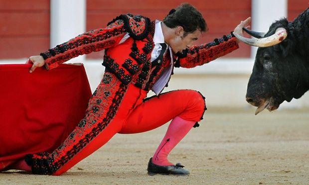 El matador famosa y valiente se llama Juan Cortez y llevó un traje de luces que era rojo y dorado con los zapatos negros y una capa roja. Todos chicas pensaba que Juan es muy guapo y les gustaba mucho por su coraje.