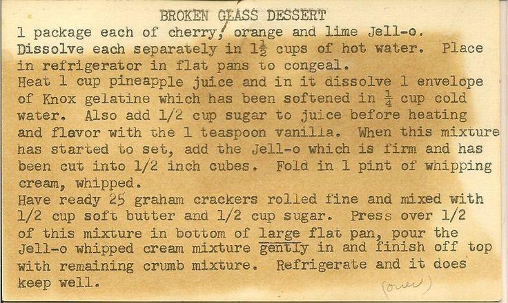 Ancestors Gotta Eat!: Broken Glass Jello & Graham Cracker Dessert from Mrs. Potter in Illinois