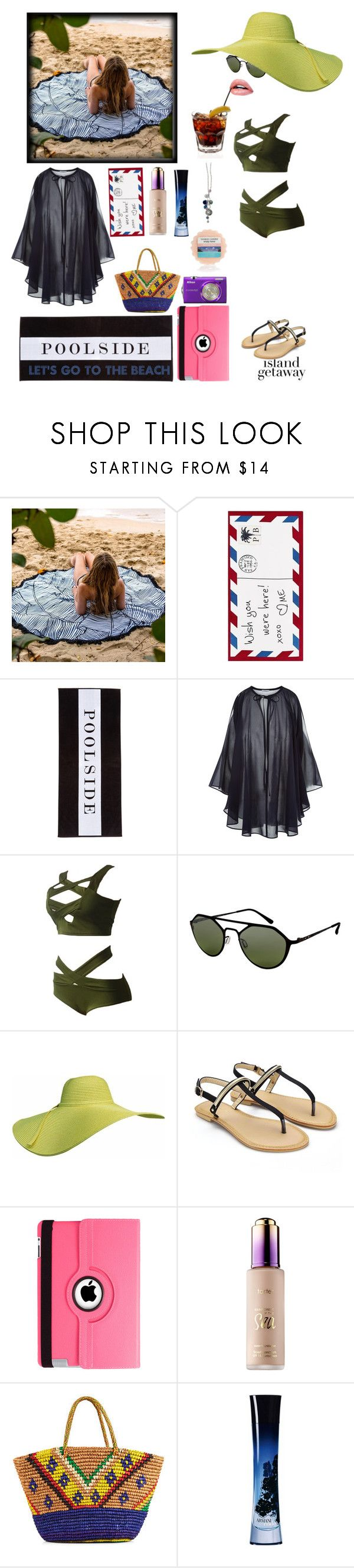 """Island 🌴 Getaway"" by yemmy-made ❤ liked on Polyvore featuring Pottery Barn, Chance, Italia Independent, Natico, tarte, Nikon, Sensi Studio, Giorgio Armani, Yankee Candle and Lia Sophia"
