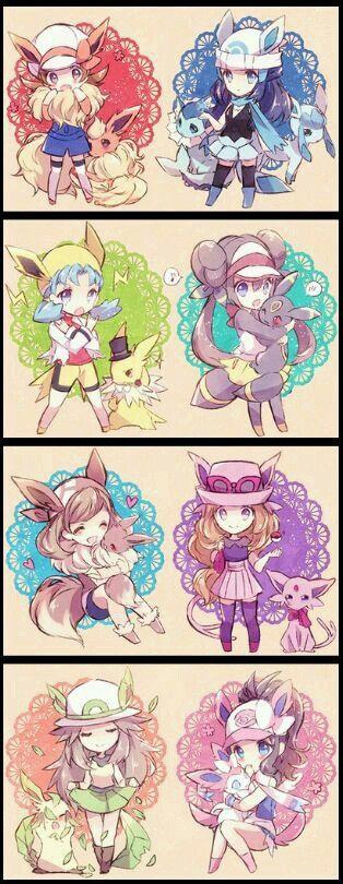 Pokemon girls and their eevee/eeveelutions