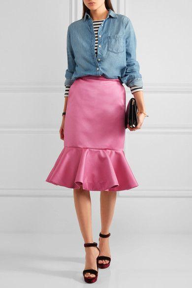 J.Crew - Dante Ruffled Duchesse-satin Skirt - Pink - US12