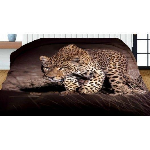 Obojstranný prehoz hnedo čiernej farby s 3D potlačou leoparda