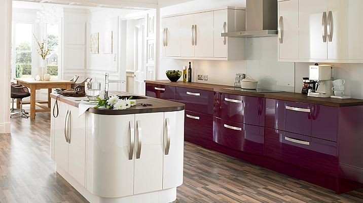 Love the aubergine kitchen with the white... mix and match and make the purple a statement, not an overwhelming feature!