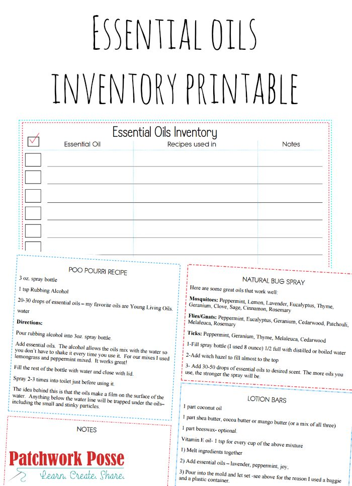 essential oils inventory printable - keep track of what you have and what you need, plus a few recipes included!