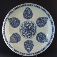A Chinese Islamic Market Blue and White Porcelain Dish, Kangxi Period c.1685-1700. This Thickly Potted Dish is Painted with a Cone Design and was Made for the Ottoman and Persian Markets. The Decoration Consists of Six Cones Arranged Around a Central Design. The Double Foot Ring, Unglazed in the Middle, is Typical of the Period.