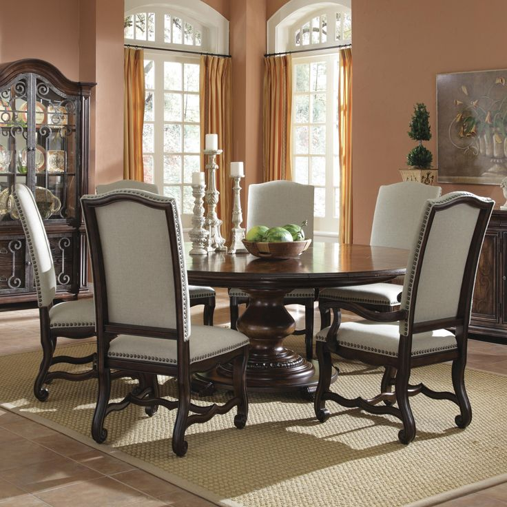 Delightful Round Kitchen Table Sets For 6 Part - 8: Round Dining Table Set For 6