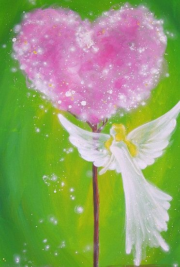 "Limited angel art poster ""touched by love""  modern contemporary angel painting, artwork, print, glossy photo,"