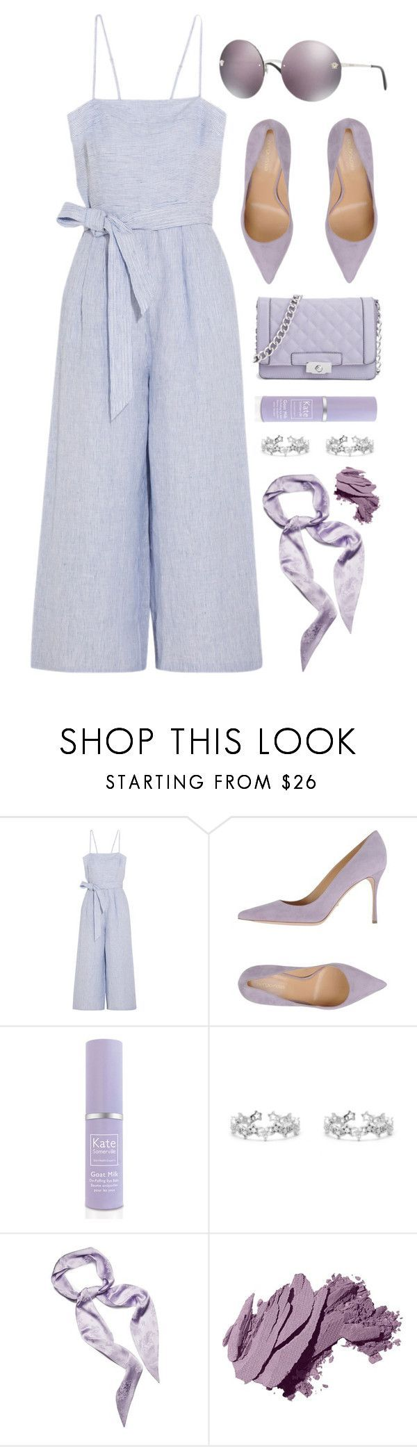 """Purple"" by smartbuyglasses-uk ❤ liked on Polyvore featuring J.Crew, Sergio Rossi, Kate Somerville, Magda Butrym, Bobbi Brown Cosmetics, Versace and purple"