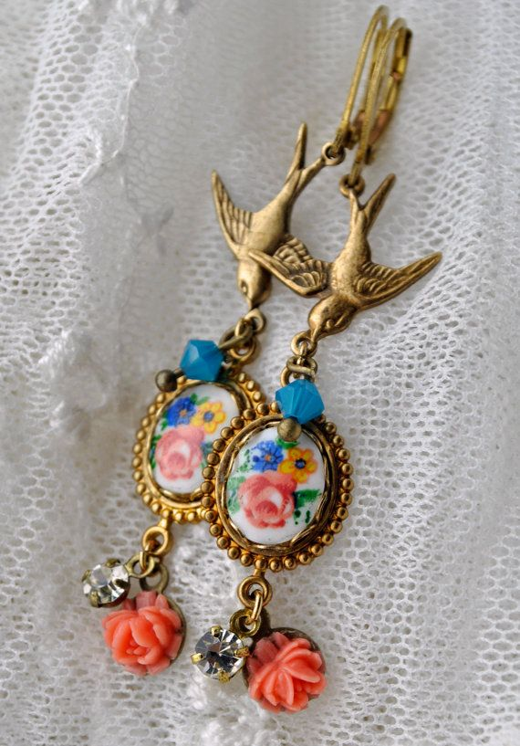 Happy: long dangle earrings fantasy or fairytale style with little birds and flowers, vintage glass cameo and Swarovski crystal, leverback