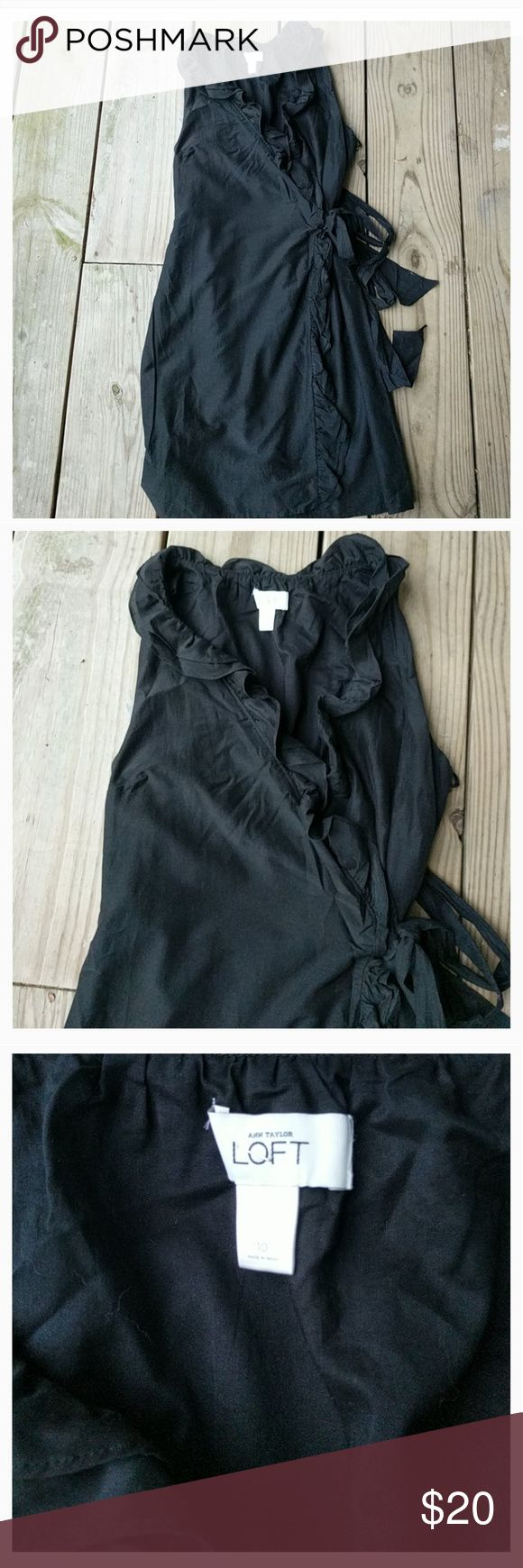 Beautiful Ann Taylor Loft wrap dress Black, cotton/silk, ruffle trim, wrap around, size 10 LOFT Dresses Midi