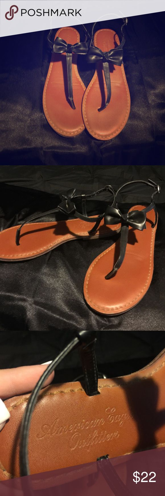 Bow sandals!! Practically brand new Black with a bow sandals!! Worn once in great condition nothings wrong with them just never wear open toed shoes more of a boot girl! Offer you price 💖 American Eagle Outfitters Shoes Sandals