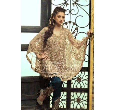 Pakistani Designer Dresses - Lowest Prices - Lace Cape with Embroidered Pants by Cotton Ginny - Dresses - Latest Pakistani Fashion