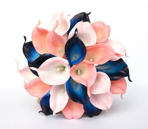 Navy Blue Wedding Bouquet  Coral Calla Lily by AdoredOccasions