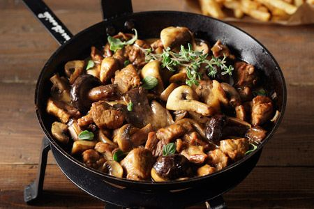 Τηγανιά με χοιρινό μαριναρισμένο σε ρετσίνα και μανιτάρια - Γρήγορες Συνταγές | γαστρονόμος online