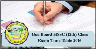 GOA Board HSSC Date Sheet 2017, GBSHSE 12th Exam Time Table 2017