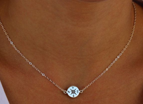 Compass Necklace  Sterling Silver or Gold   Let your by lisaloren