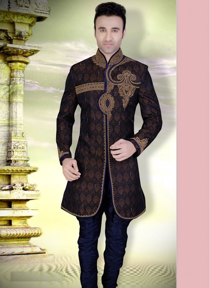 Image result for black brocade sherwani