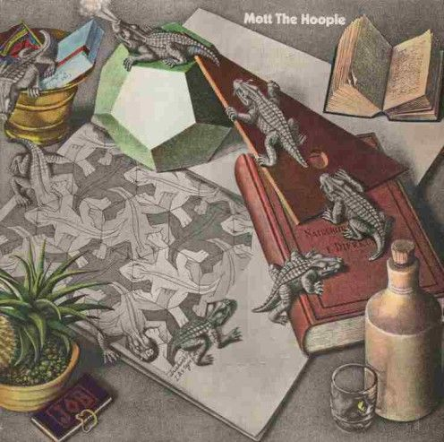 Escher's Reptiles is the basis for Mott the Hoople's 1969 self-titled debut album though many Escher fans were upset that the artwork was modified with color.