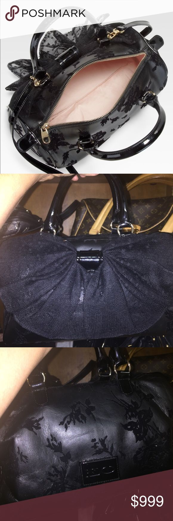 Red Valentino Velvet on lambskin and lace bow with patent leather straps and piping. Pink lining has dust bag well kept. Dustbag included with long strap. Use offer button for sales Valentino Bags Crossbody Bags