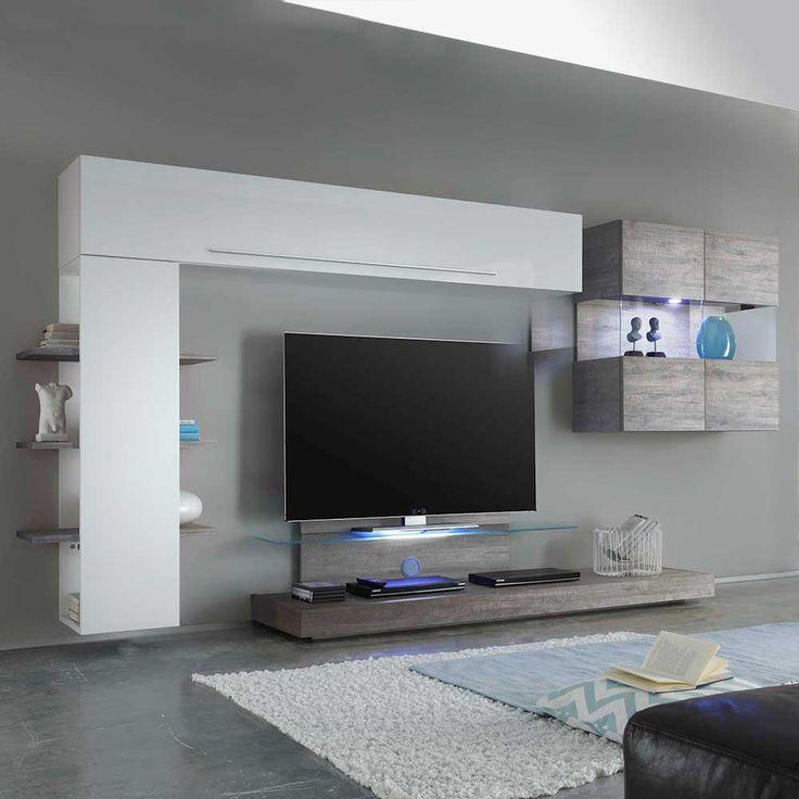 Wohnzimmer Anbauwand in Weiß Hochglanz Eiche Grau 320 cm breit (4