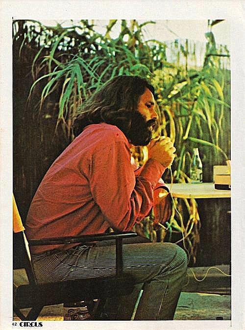 Morrison @ the Isle of Wight festival during interview, 1970