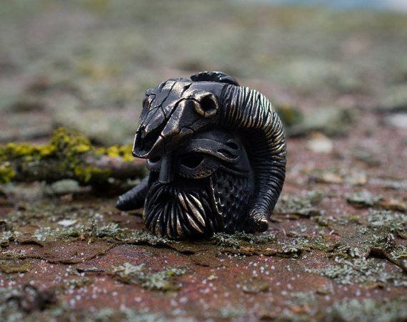 Viking head lanyard beads Paracord lanyard beads of от GATURA