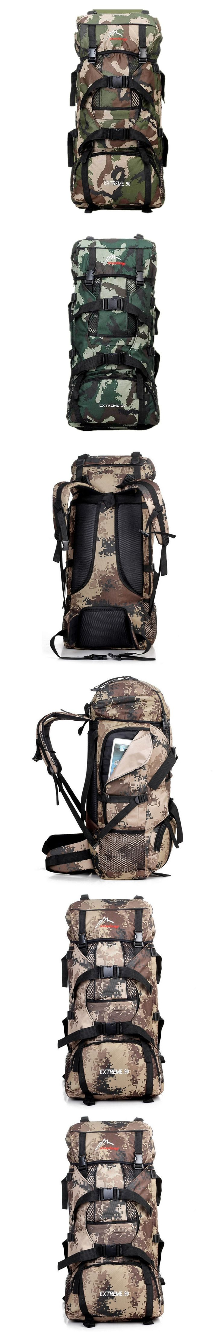 2017 New 90L Outdoor Trekking Travel Rucksack Case Large Capacity Climbing Bags Camouflage Mochila Militar Tactical Backpack