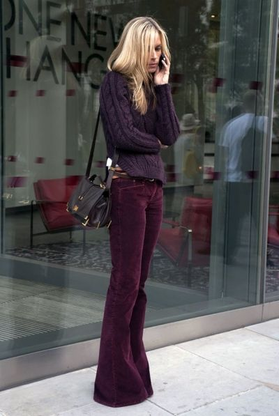 The Fashion WarriorFashion, Belle Bottom, Fall Style, Colors, Pants, Street Style, Fall Outfit, Cords, Plum