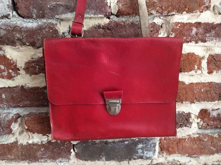 Rare Vintage 1970 Leather Post Office Deutsche Post Mail Bag Messenger Bag Red