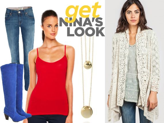 Lace cardi by Johnny Was, Red Cami by Portmans, denim jeans by Mavi, Boots by amazon and necklace by Samatha Wills