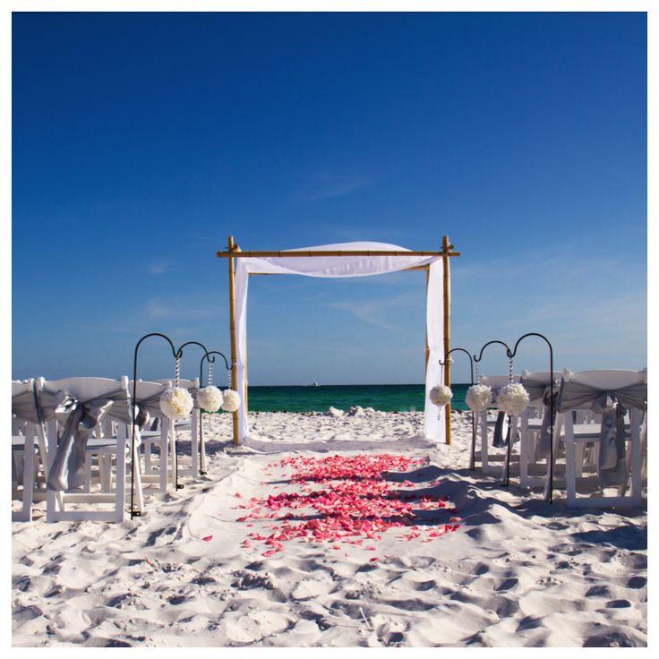destin beach wedding bamboo arbor