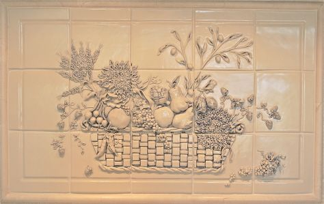 "kristi rowland - hand sculpted relief - 15 - 6"" porcelain tiles - underglaze wash w/ mate clear glaze"