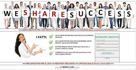 WE SHARE SUCCESS  Noi Impartasim Succes Primiti 10 Actiuni ale Societatii doar pentru Inregistrare dvs Gratuita Primiti 5 Actiuni ale Societatii pentru fiecare Membru Gratuit invitat, pe 5 Generatii Adancime Primiti Lunar Profit http://perfect-internet-romania.infinimarketing.net/galaxie.php?refid=59526&website=5