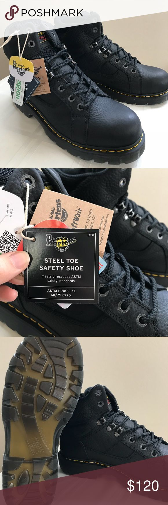 Black Steel Toe Boots Brand new, never worn size 14 Dr. Marten's Steel Toe Boots. Dr. Martens Shoes Boots