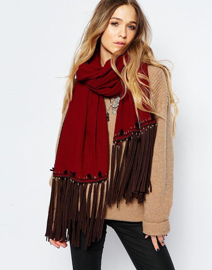 BLANK+Tassel+Detail+Oversized+Blanket+Scarf