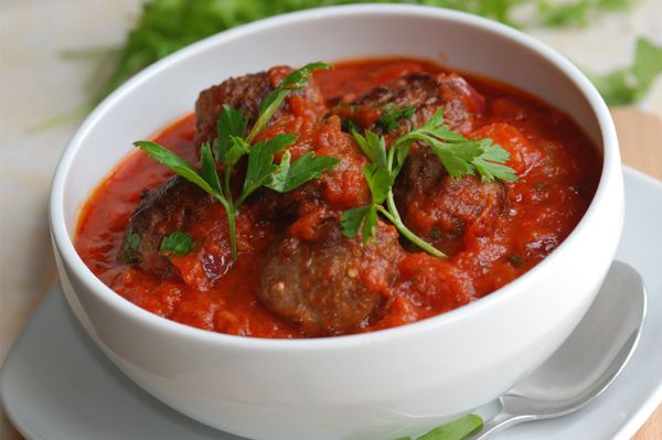 Meatballs with tomato sauce  can also bake meatballs in oven: 20-30 mins on 350 instead of frying