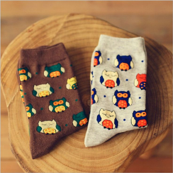 Brand Female Winter Kawaii Owl Animal Long Socks Funny Women Men Owls Cartoon Art Sock Creative Cotton Neutral Socks