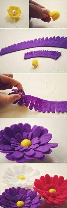 Цветы из фетра. Цветные ромашки / Цветы из ткани своими руками и вязанные крючком. Заколки для волос / Ёжка - стихи, загадки, творчество и уроки рисования для детей