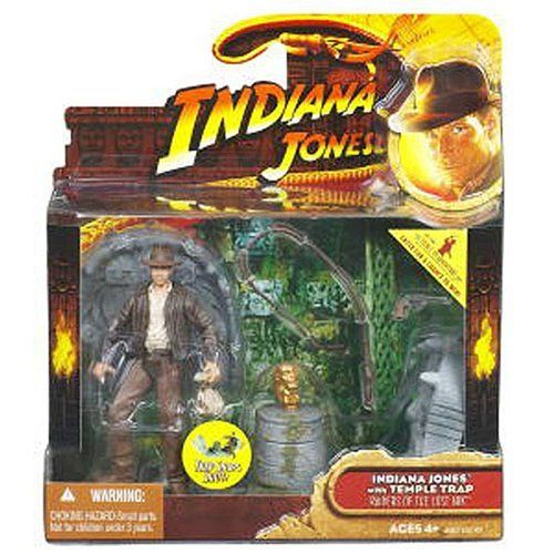 INDIANA JONES & TEMPLE TRAP Raiders of the Lost Ark 2008 Deluxe Action Figure Set by Hasbro. $24.95. Racing against his chief nemesis, Rene Belloq, to discover a coveted artifact, Indiana Jones enters an ancient, Chachapoyan Temple in the jungles of Peru. Inside, he solves a series of deadly riddles while advancing on his prize, ultimately triggering the stone templ's collapse as he narrowly escapes with the golden idol.