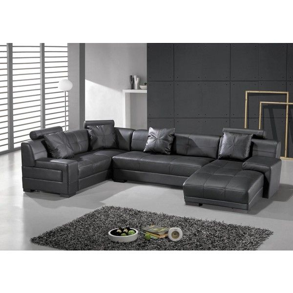 Hokku Designs Houston Leather Sectional | Home | Pinterest | Leather sectional Modern contemporary and Living rooms  sc 1 st  Pinterest : grey leather sectional couch - Sectionals, Sofas & Couches