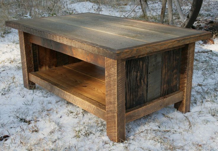 This is a custom made coffee table constructed out of reclaimed barnwood and reclaimed circle sawn fir. Description from custommade.com. I searched for this on bing.com/images