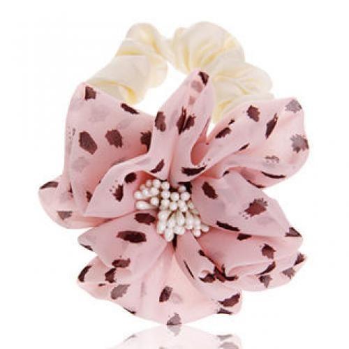 Flower-Accent Chiffon Hair Tie Beige - One Size
